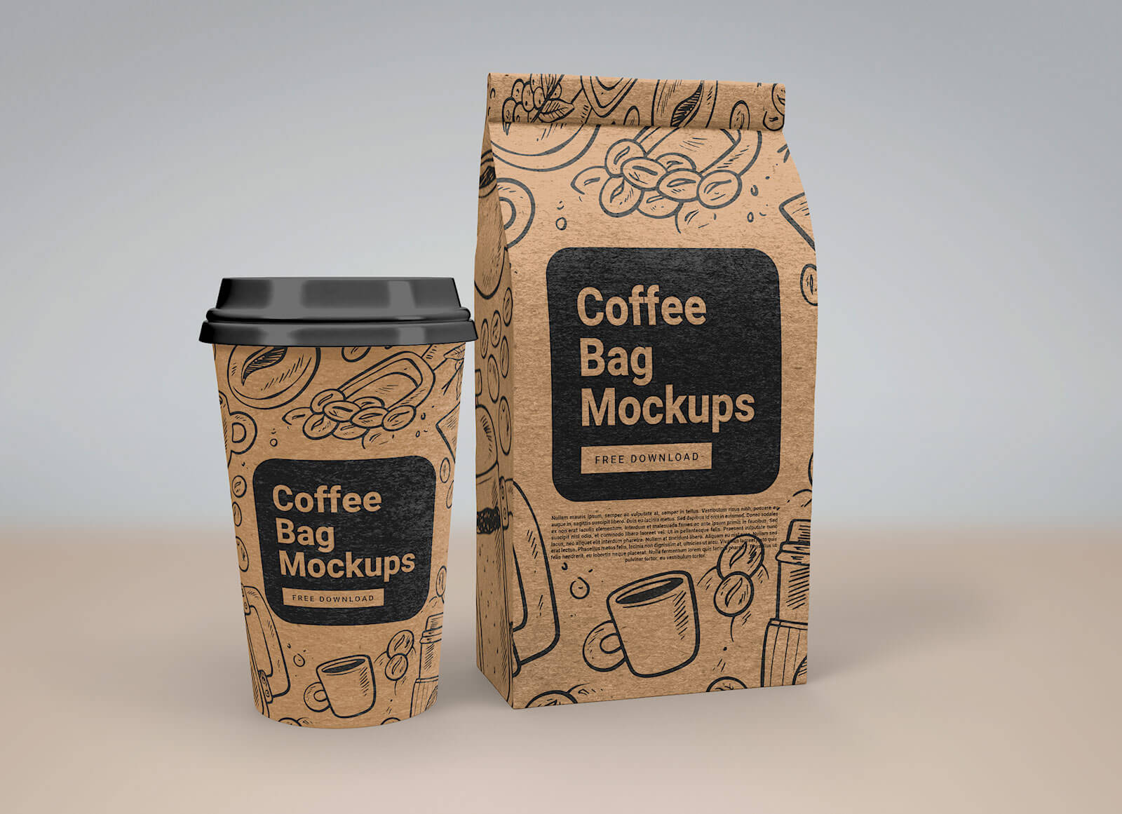 Free Coffee Gusset Bag & Paper Cup Mockup PSD (1)