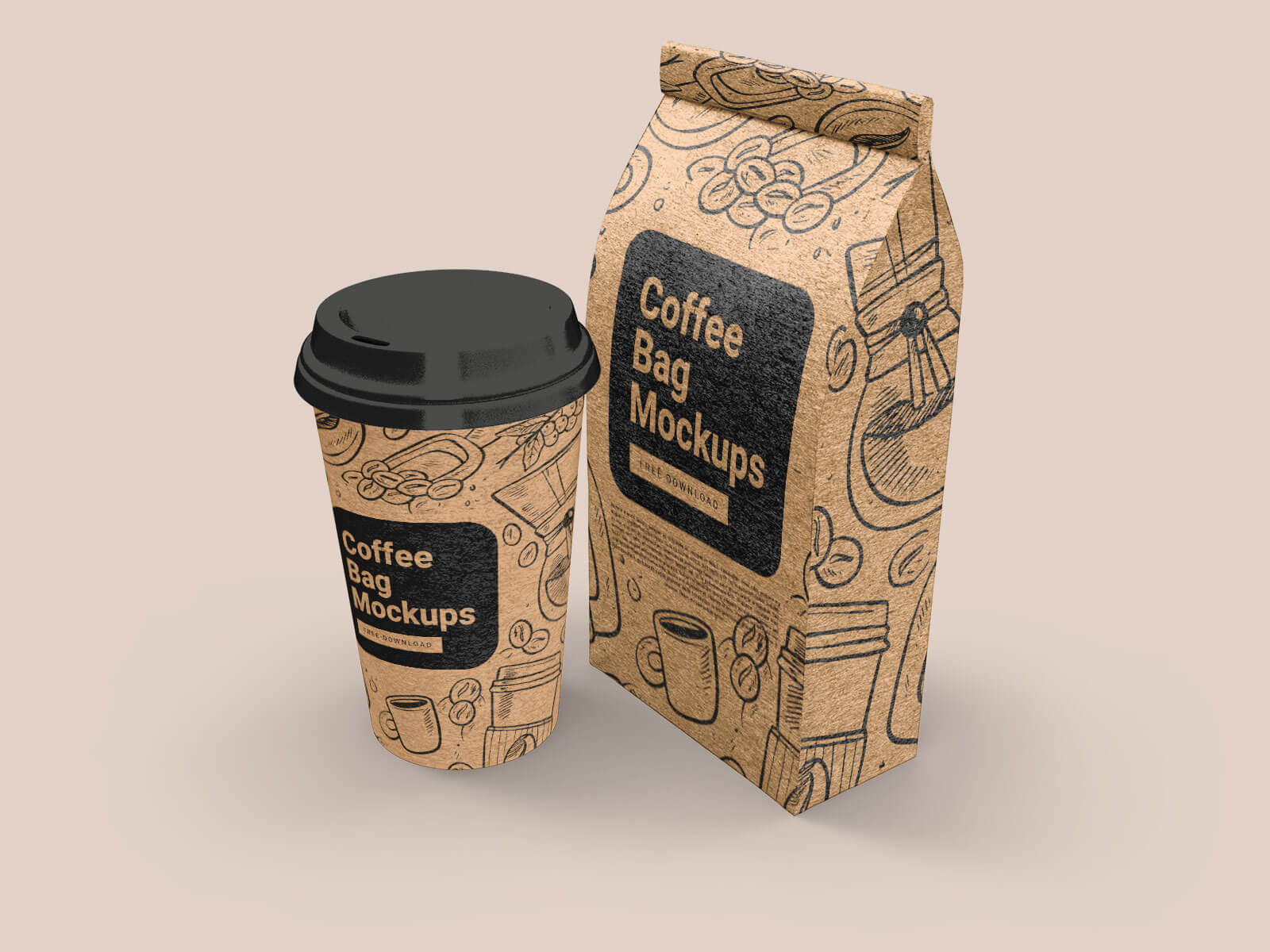 Free Coffee Gusset Bag & Paper Cup Mockup PSD (2)