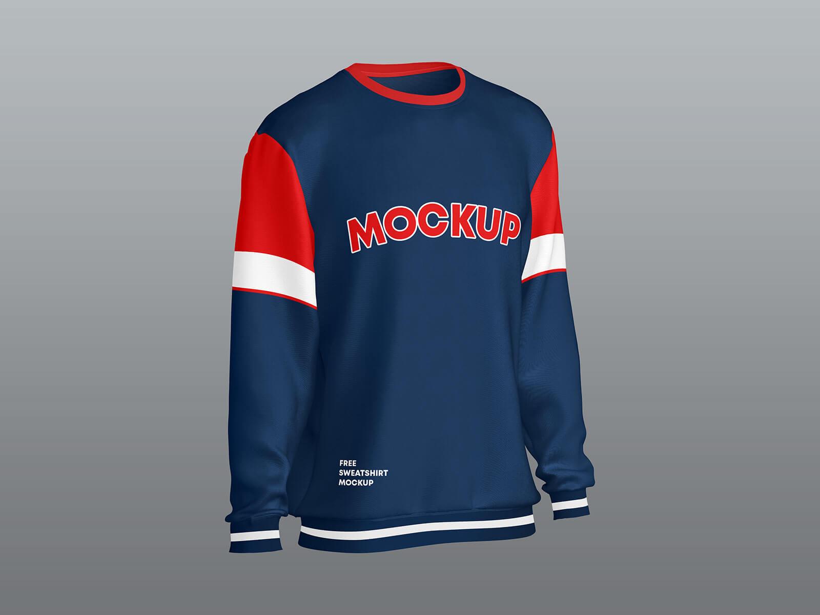 Free Crew Neck Full Sleeves Sweatshirt Mockup PSD Set (3)