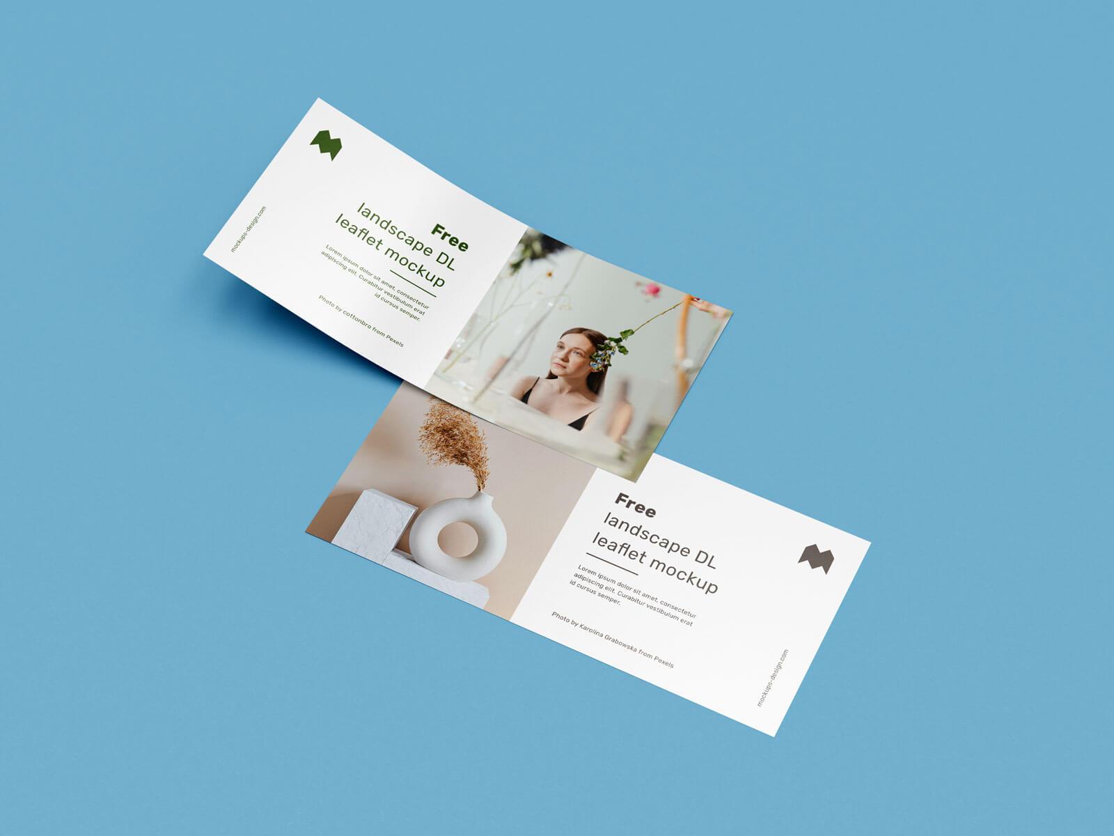 Free Landscape DL Flyer Leaflet Mockup PSD Set