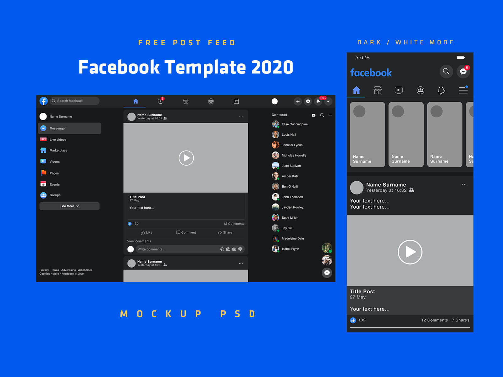 Free-Mobile-&-Desktop-Facebook-Post-Template-2020-Mockup-PSD-Dark-Mode