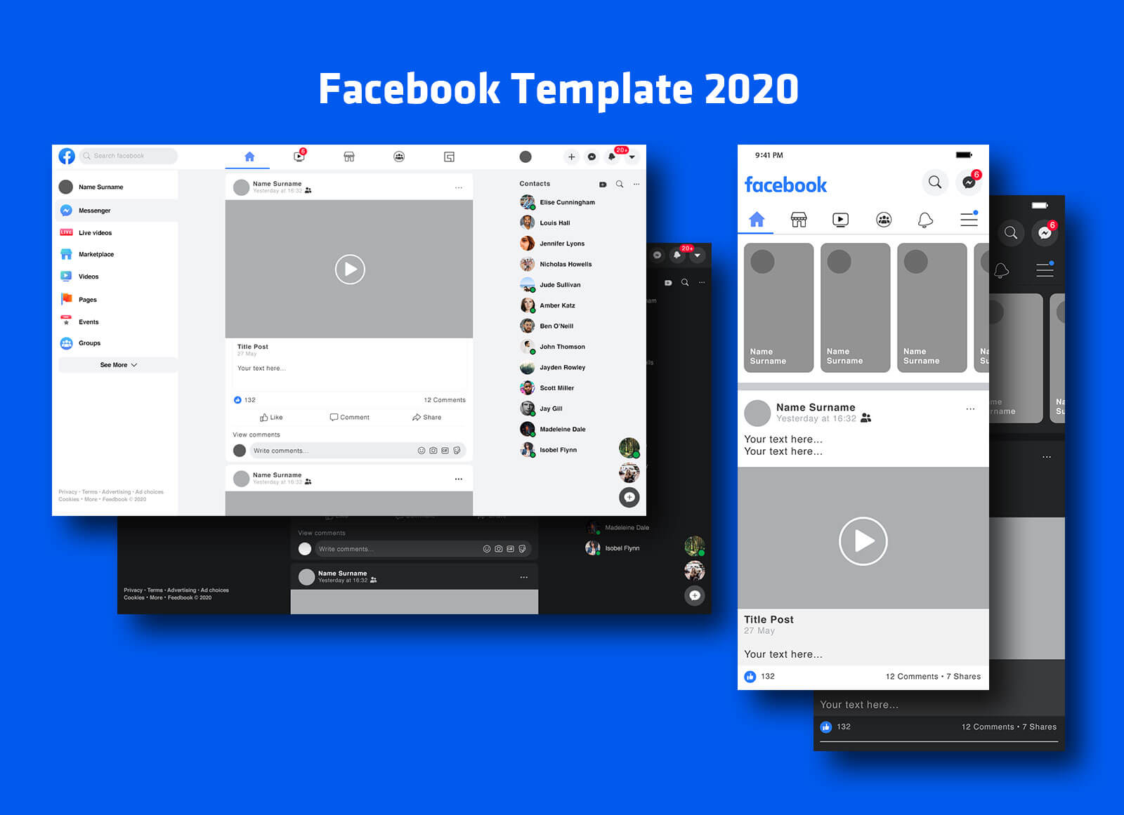 Free Mobile Desktop Facebook Post Feed Template 2020 Mockup Psd Set Good Mockups