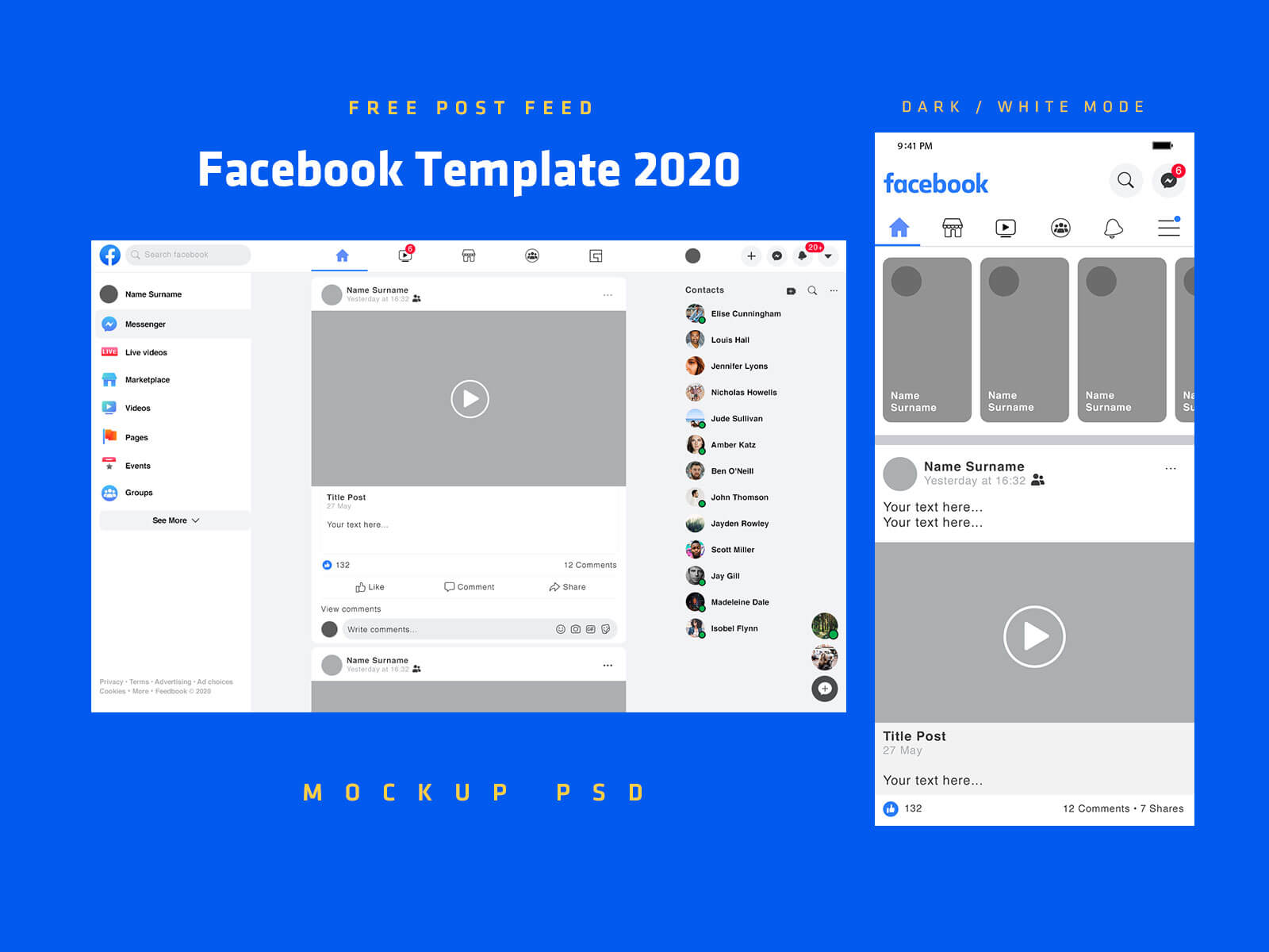 Free-Mobile-&-Desktop-Facebook-Post-Template-2020-Mockup-PSD-White-Mode