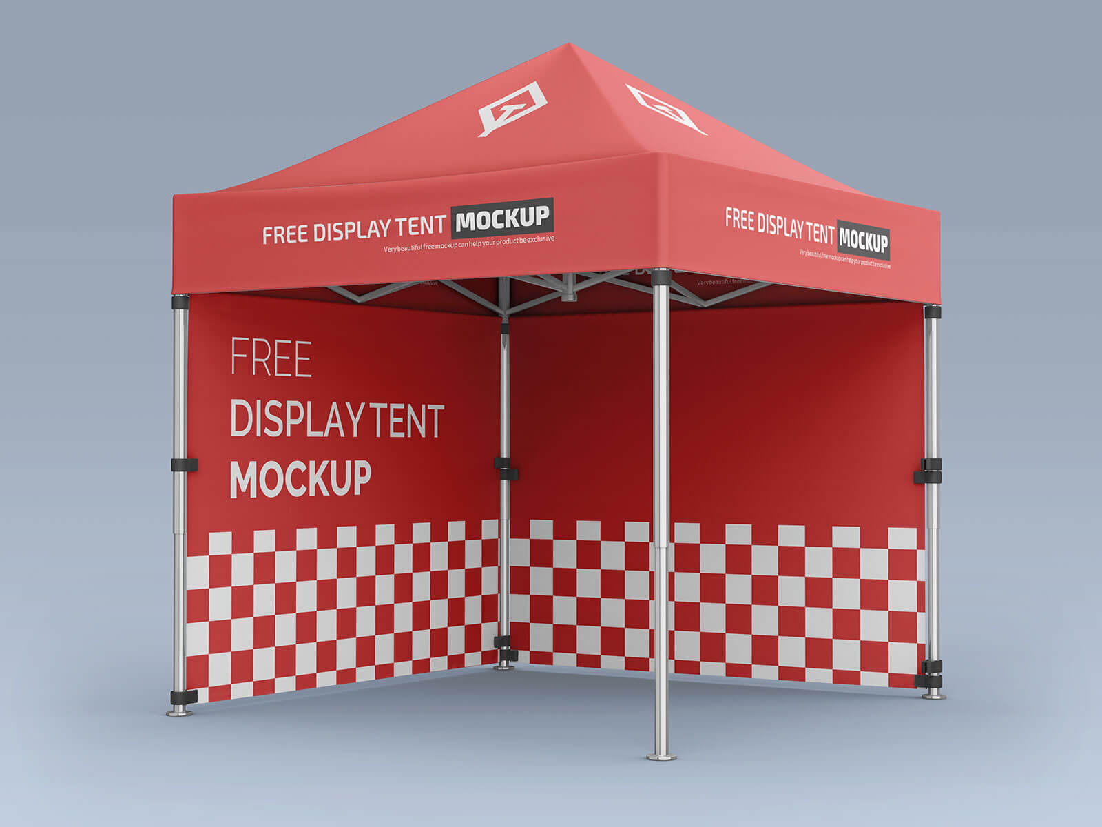Free Pop-Up Canopy Tent With Sidewalls Mockup PSD Set