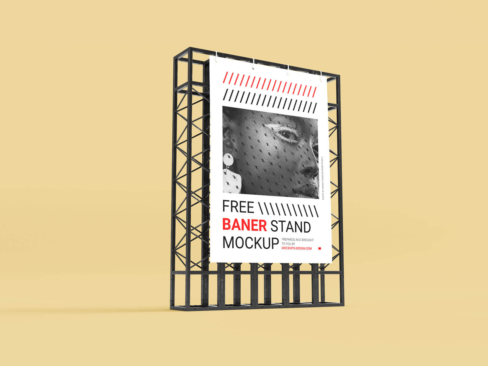 Free Poster Banner on Steel Structure Stand Mockup PSD Set
