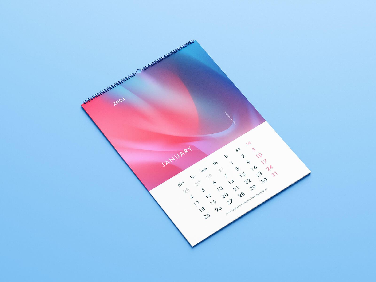 Free Premium Wall Calendar 2021 Mockup PSD Set (1)