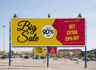Free-Sale-Discount-Special-Offer-Off-Billboard-At-Parking-Lot-Mockup-PSD