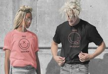 Free Male & Female Model Loose Fitting T-Shirt Mockup PSD