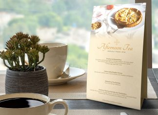 Free Table Tent Menu Card Mockup PSD