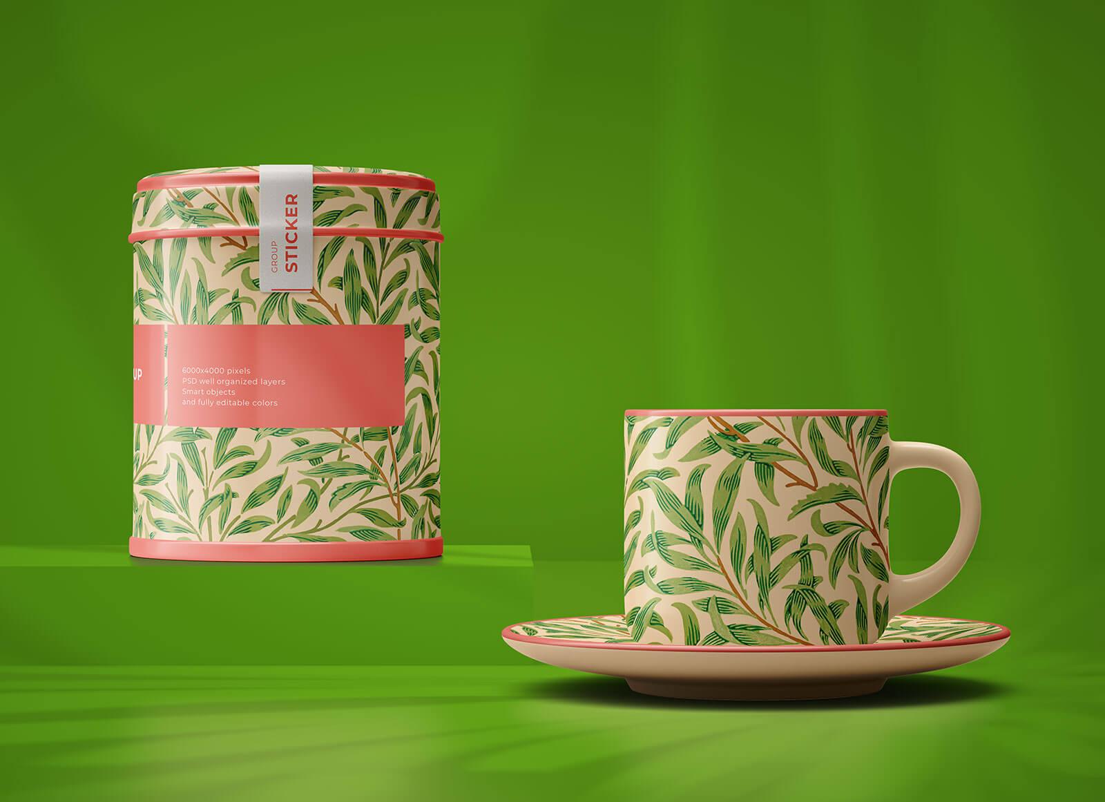 Free-Tea-Cup-&-Tea-Jar-Mockup-PSD