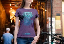 Free Young Female Model Half Sleeves Slim Fit T-Shirt Mockup PSD (3)