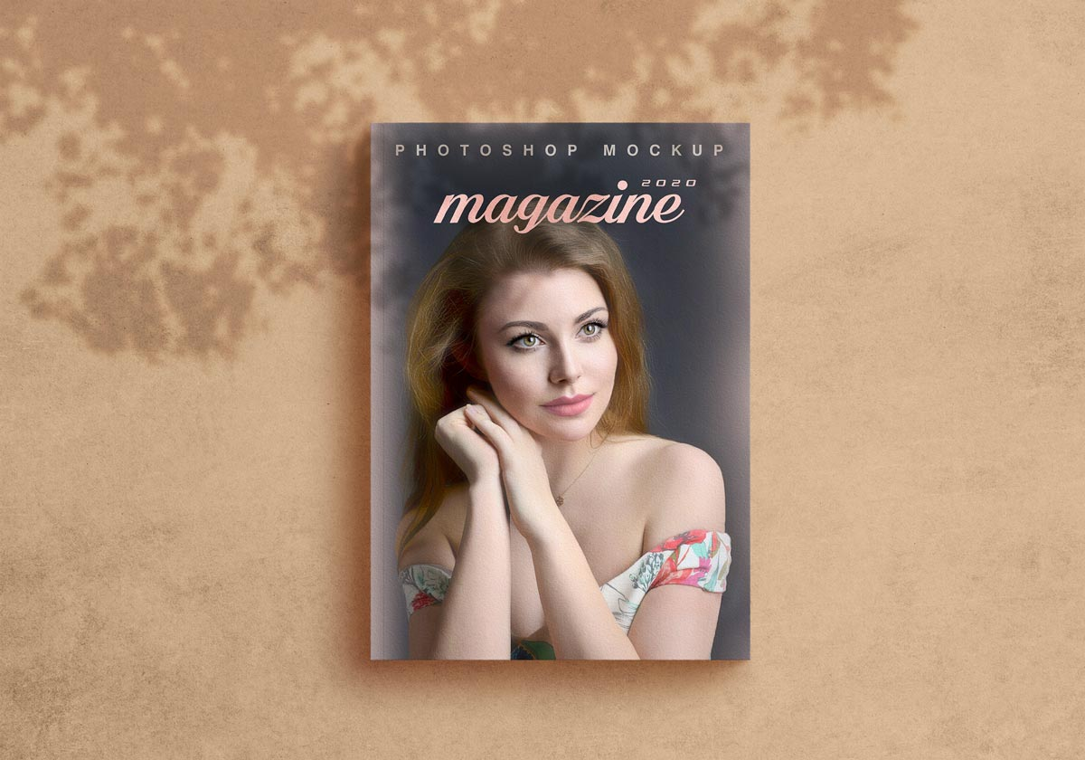 Free Shadow Magazine Title Mockup PSD