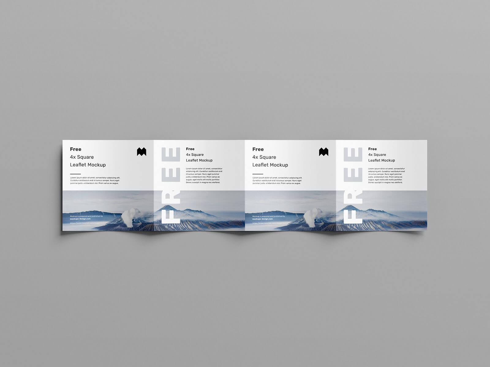 Free 4-Panel Quad-Fold Square Brochure Leaflet Mockup PSD Set