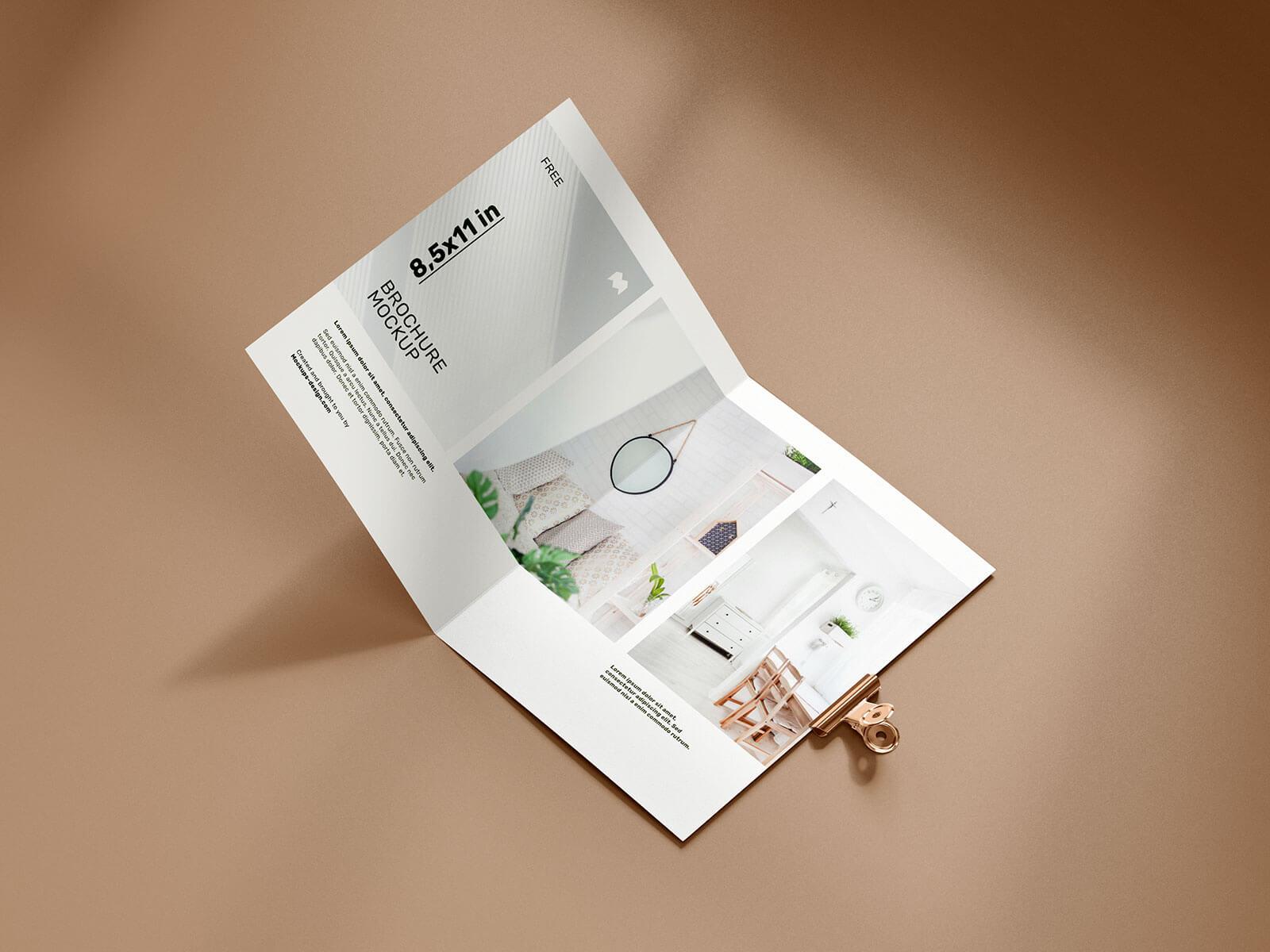 Free Bi-Fold US Letter Brochure Mockup PSD Set