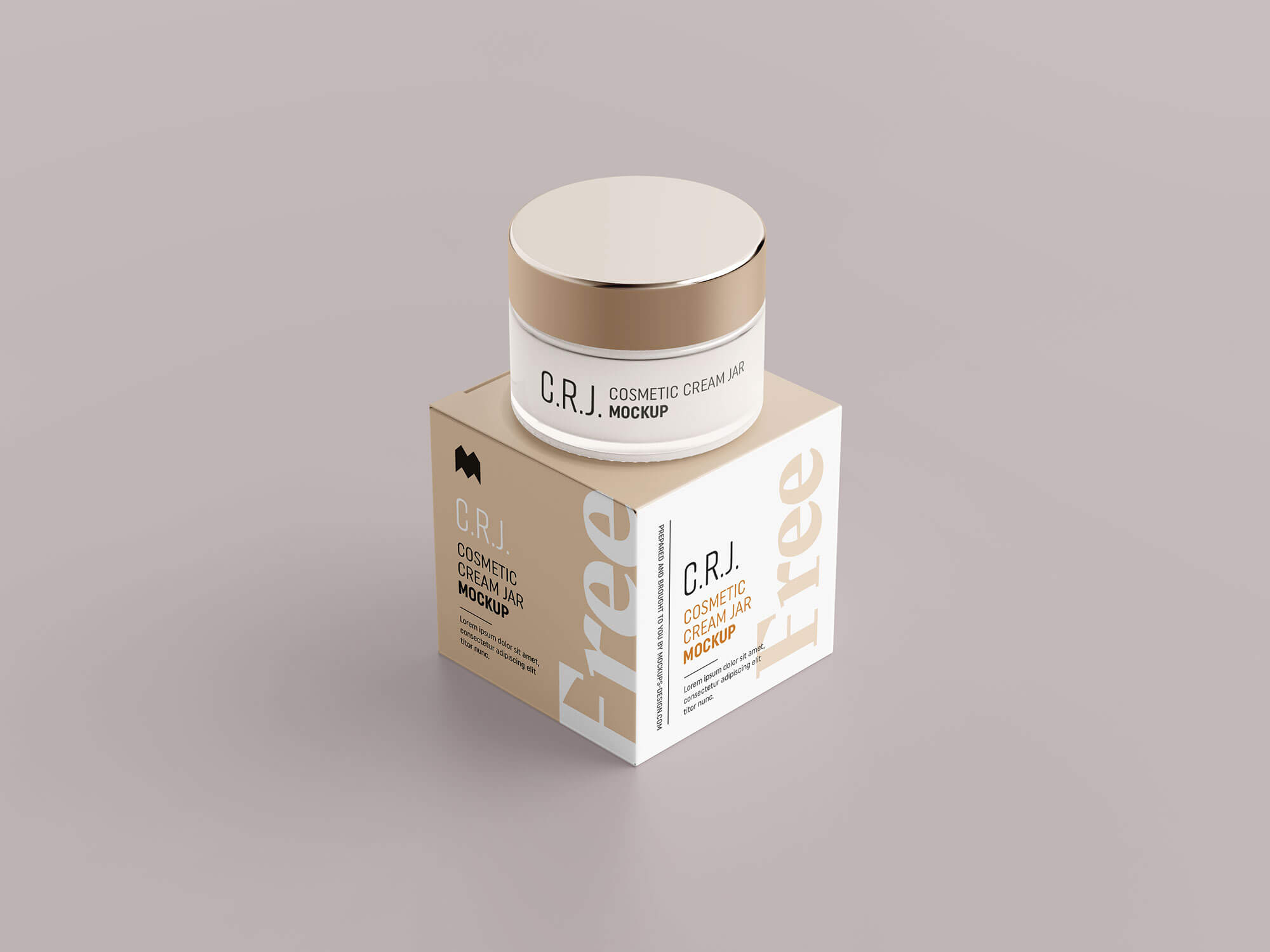 Free Cosmetic Glass Jar With Packaging Box Mockup PSD (2)
