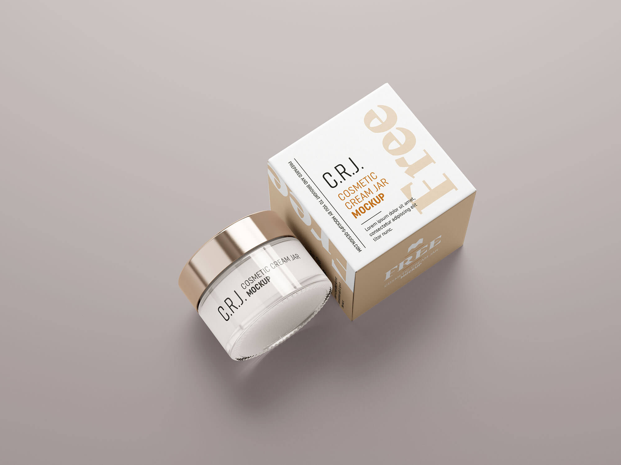 Free Cosmetic Glass Jar With Packaging Box Mockup PSD (3)