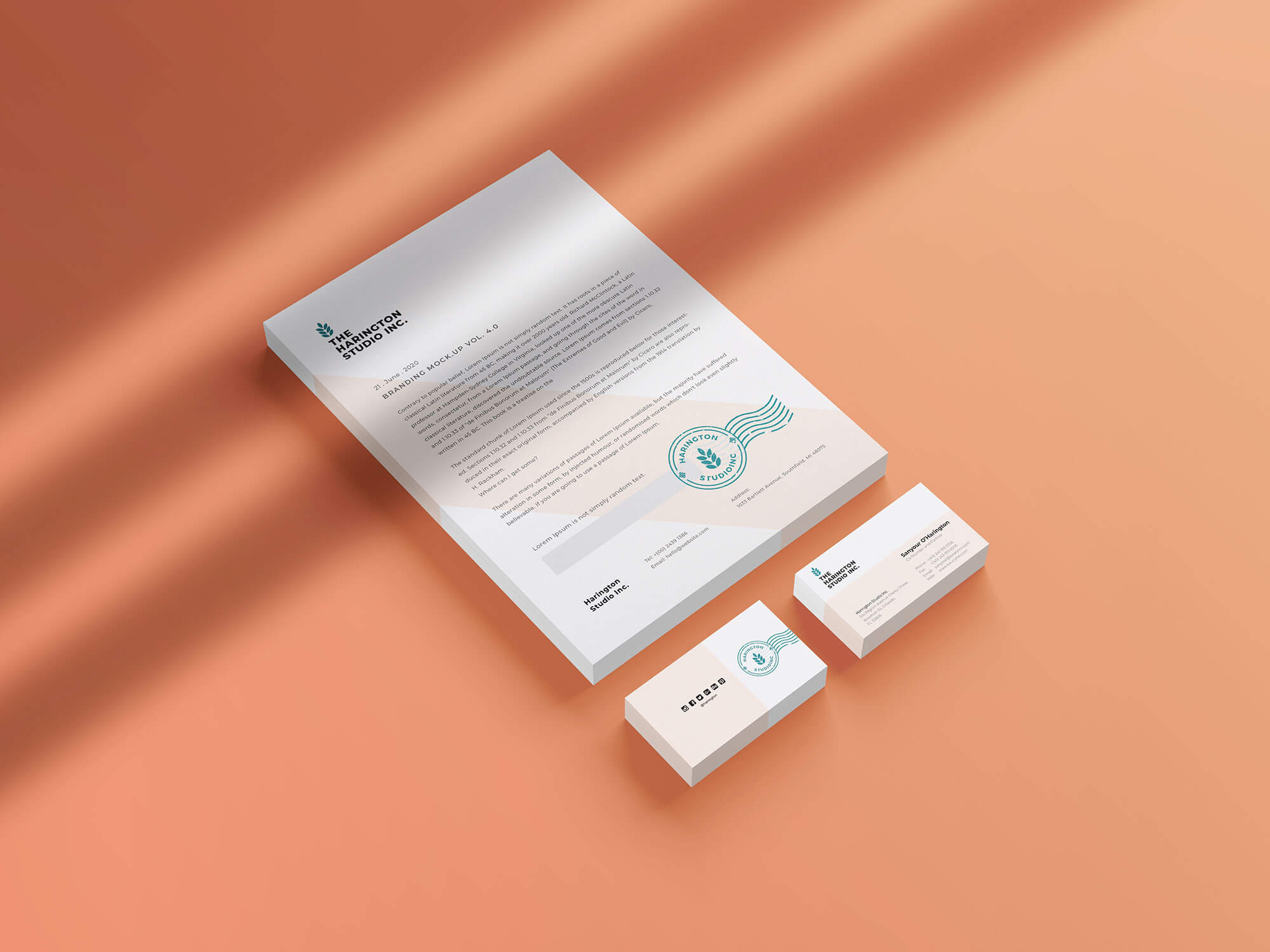 Free Isometric Stacked Letterhead & Business Card ...