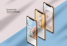 Free Isometric iPhone 11 Mockup PSD