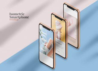 Free Isometric iPhone 11 Mockup PSD