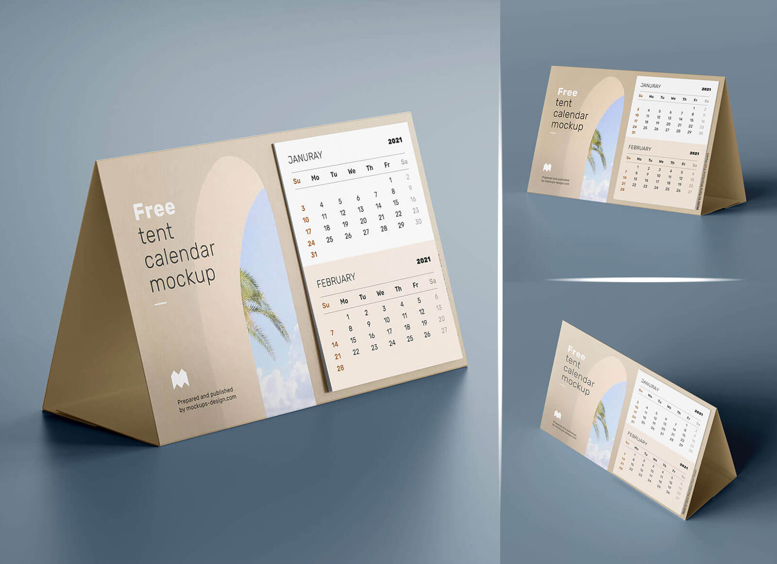 Free Landscape Table / Desk Tent Calendar 2021 Mockup PSD ...