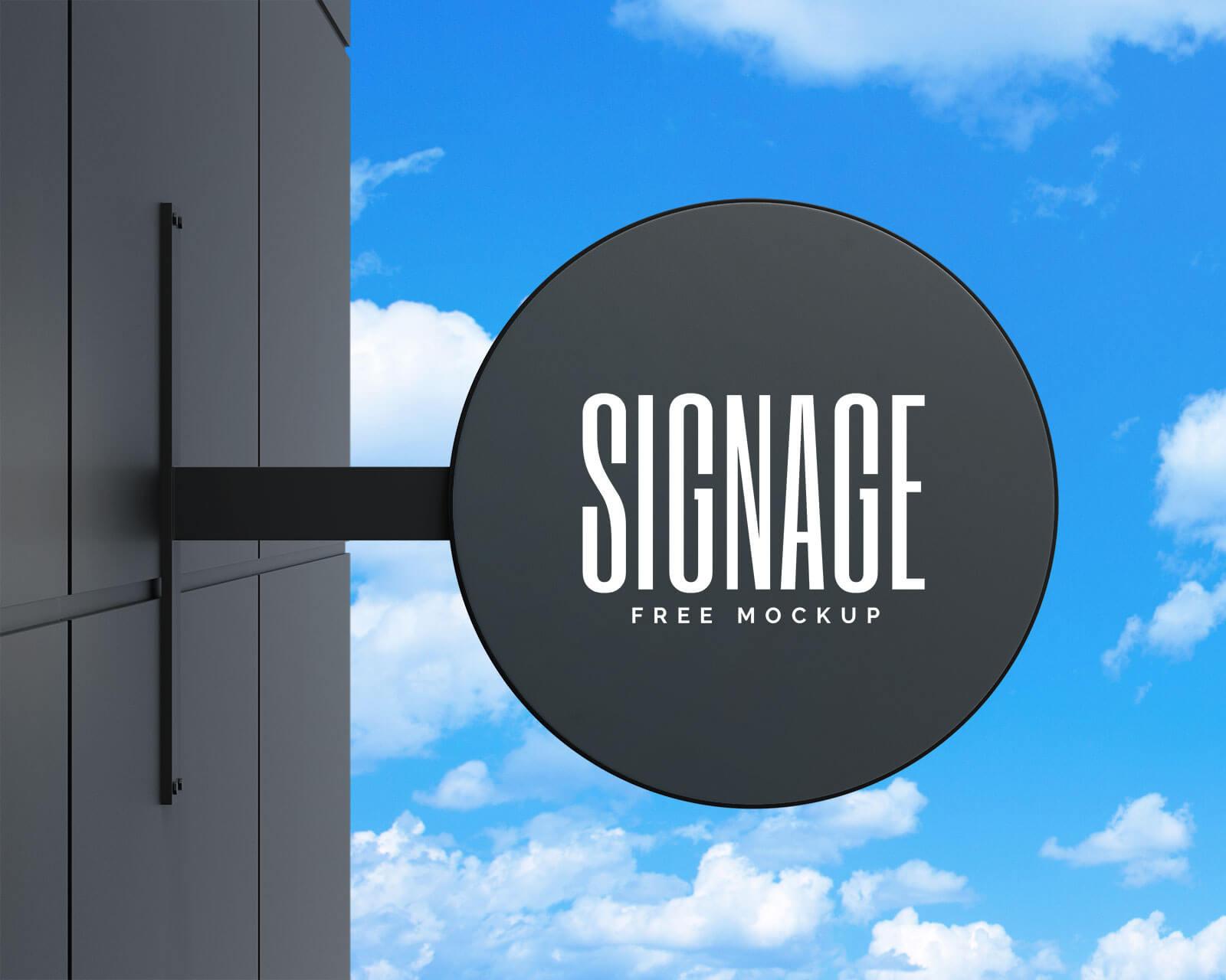 Free Round Wall Mounted Signage Mockup PSD Set