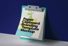 Free Standing Against Wall Paper Clipboard Mockup PSD