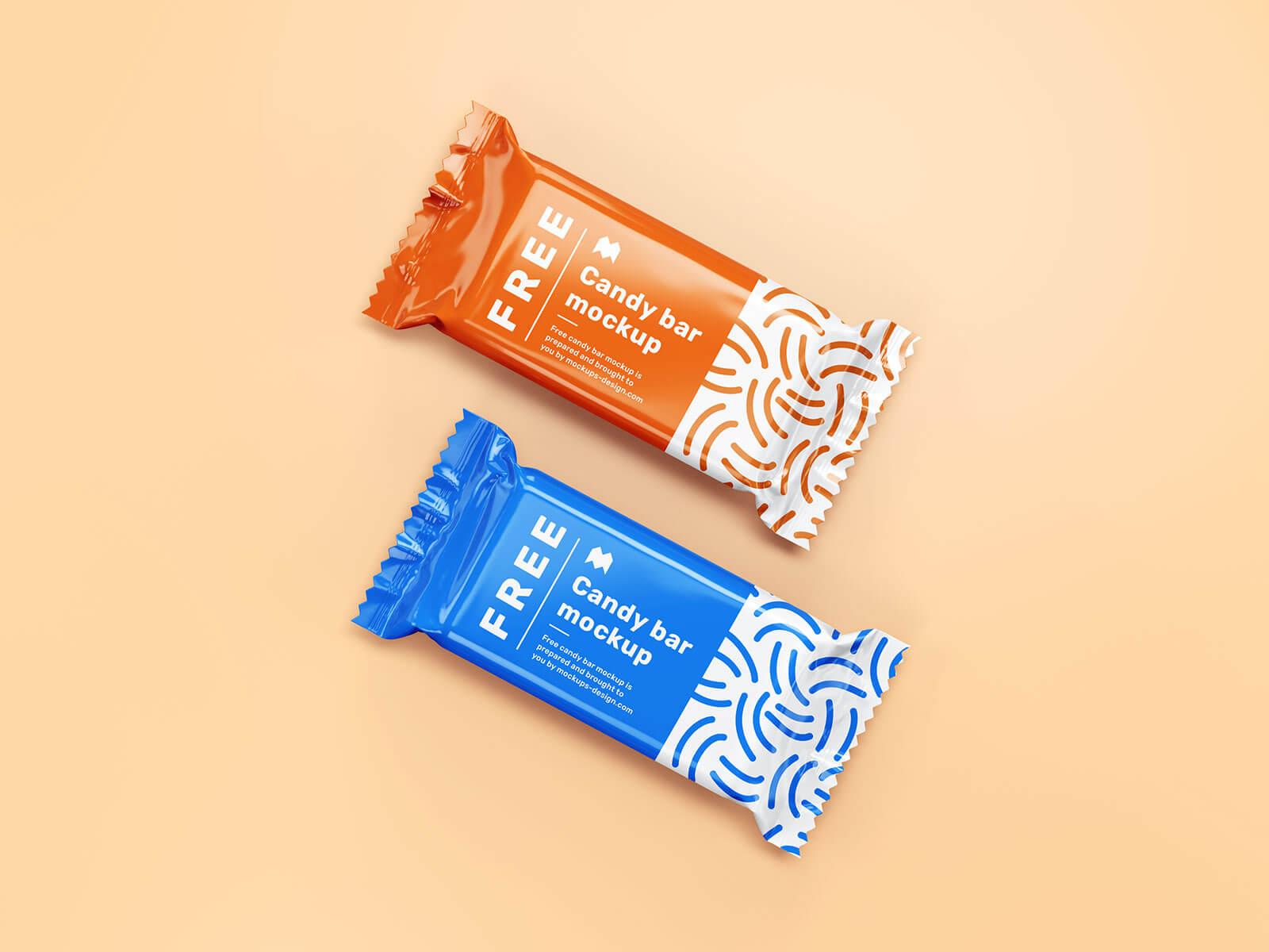 Free Candy / Chocolate Bar Packaging Mockup PSD Set