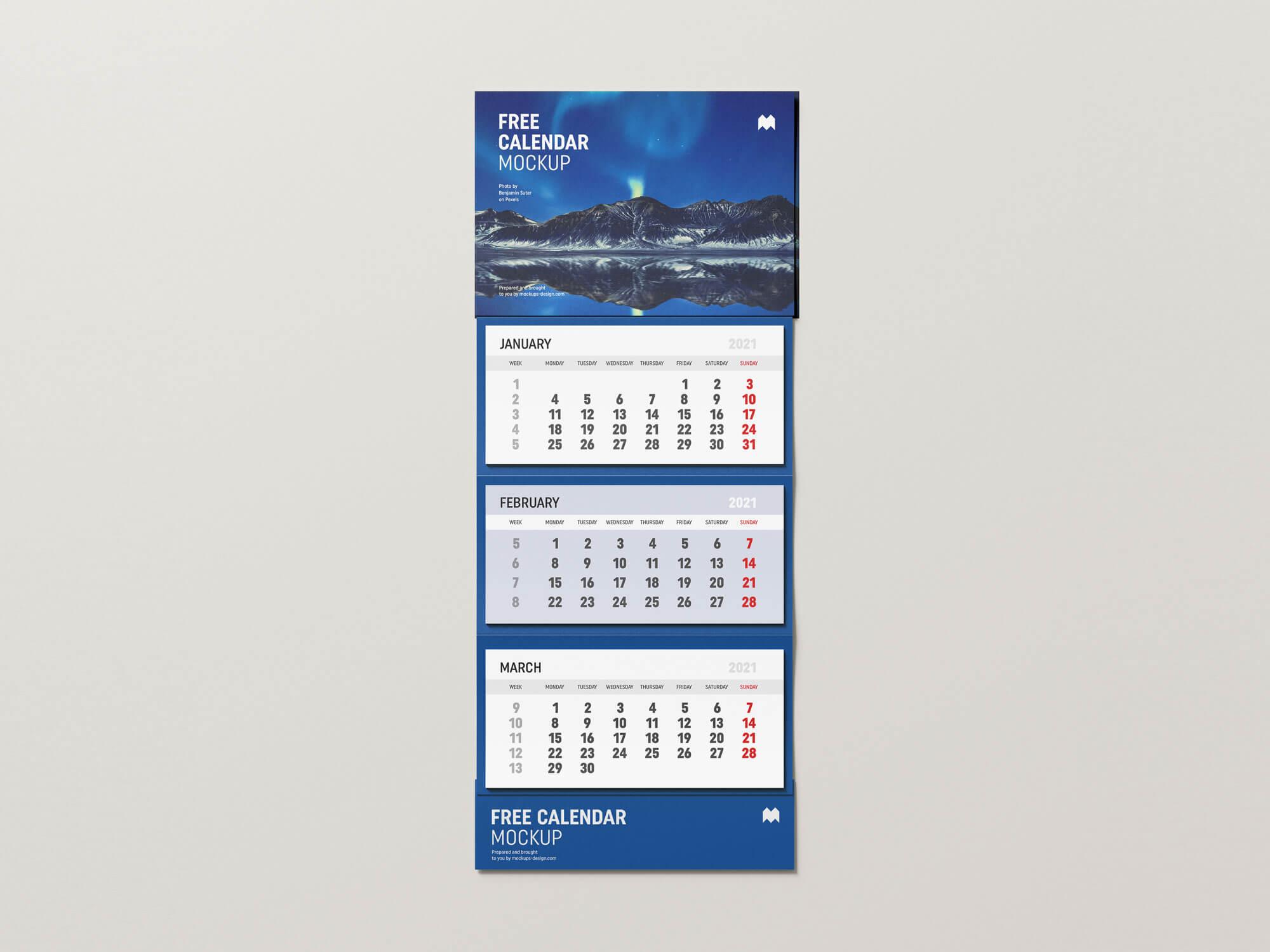 Free 3 Months Vertical Wall Calendar 2021 Mockup PSD Set (1)