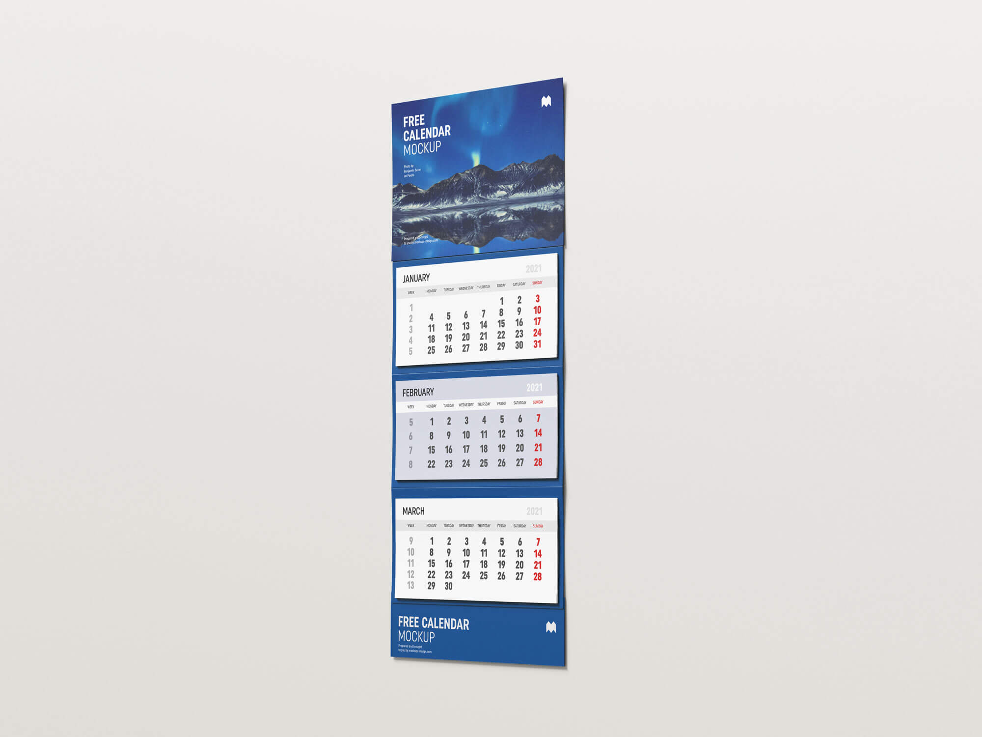 Free 3 Months Vertical Wall Calendar 2021 Mockup PSD Set (2)