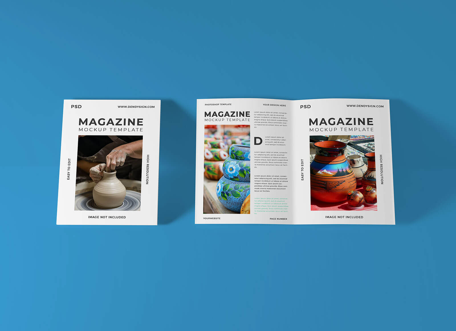 Free Cover & Open Magazine Mockup PSD