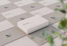 Free Perspective View Elegant Business Card Mockup PSD