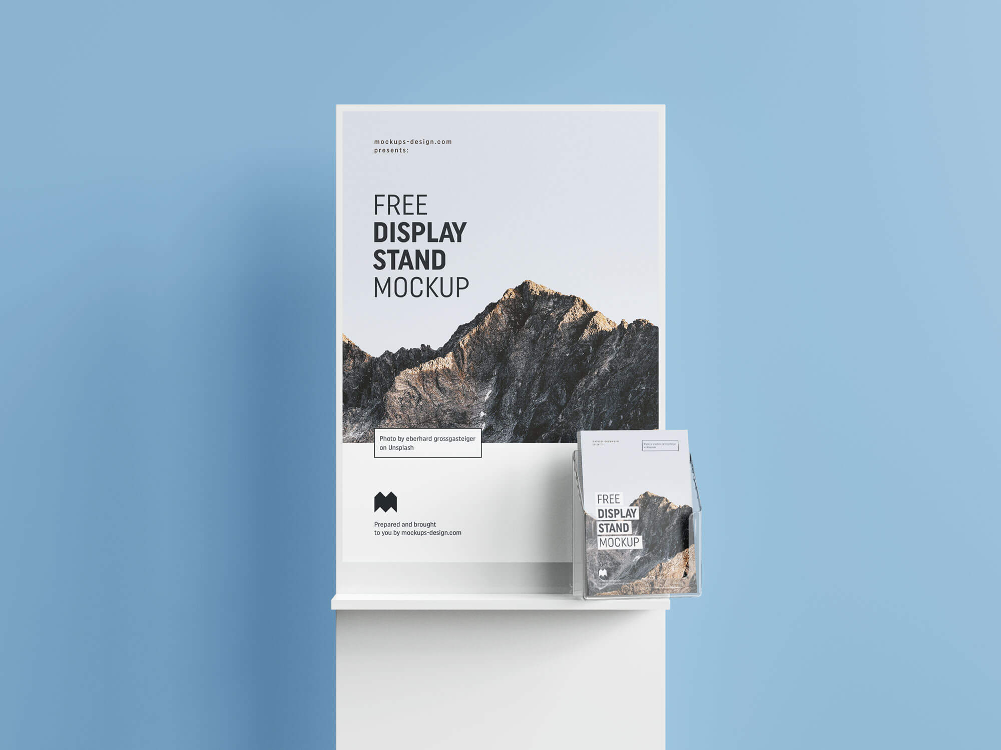 Free Poster & Flyer Holder Display Stand Mockup PSD Set (1)