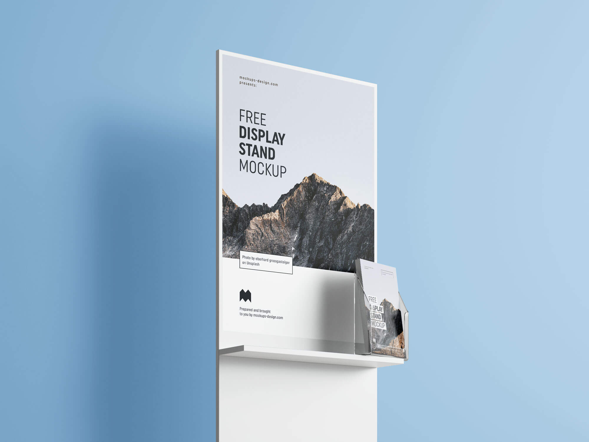 Free Poster & Flyer Holder Display Stand Mockup PSD Set (2)