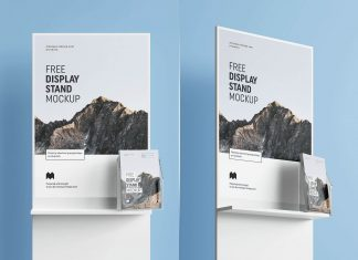 Free-Poster-&-Flyer-Holder-Display-Stand-Mockup-PSD-Set