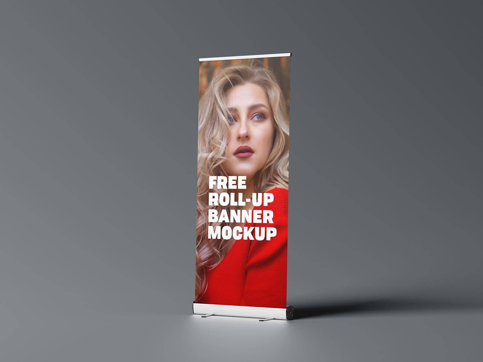 Free Roll-Up Vinyl Banner Mockup PSD Set