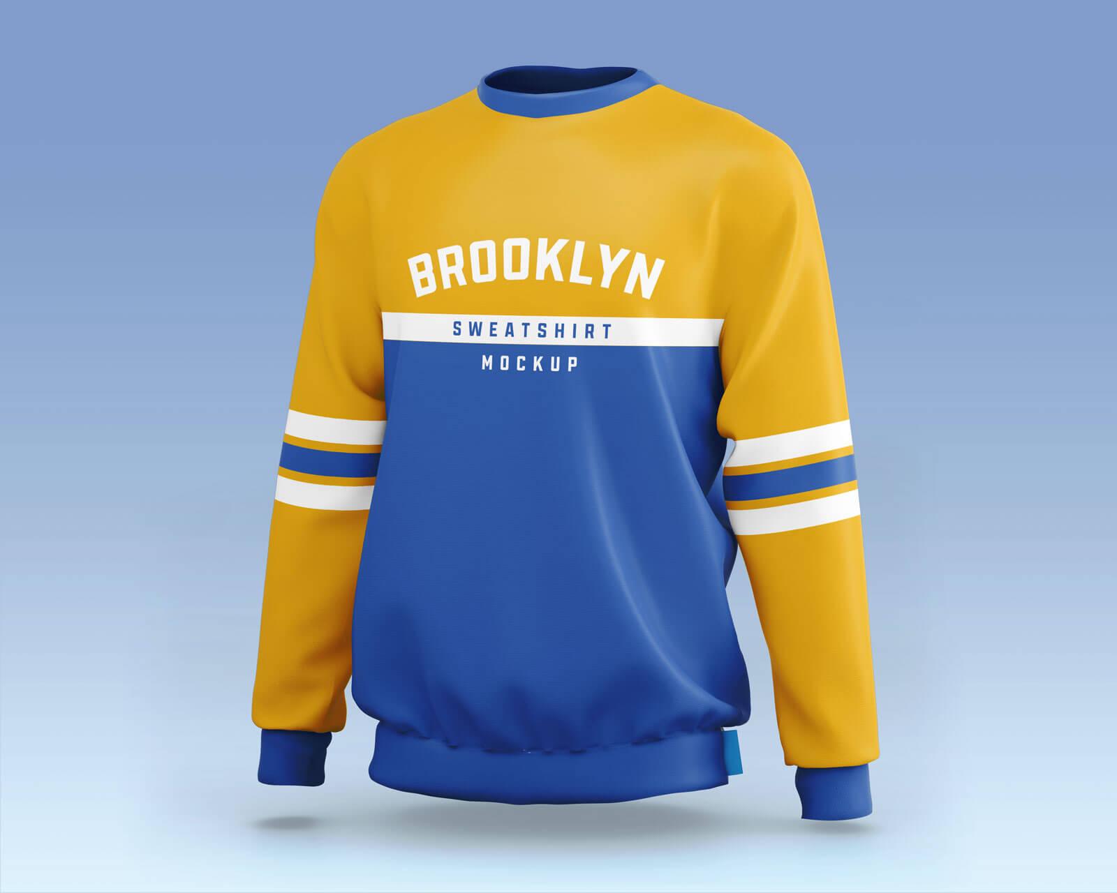 Free Sporty Crew Neck Full Sleeves Sweatshirt Mockup PSD Set (1)