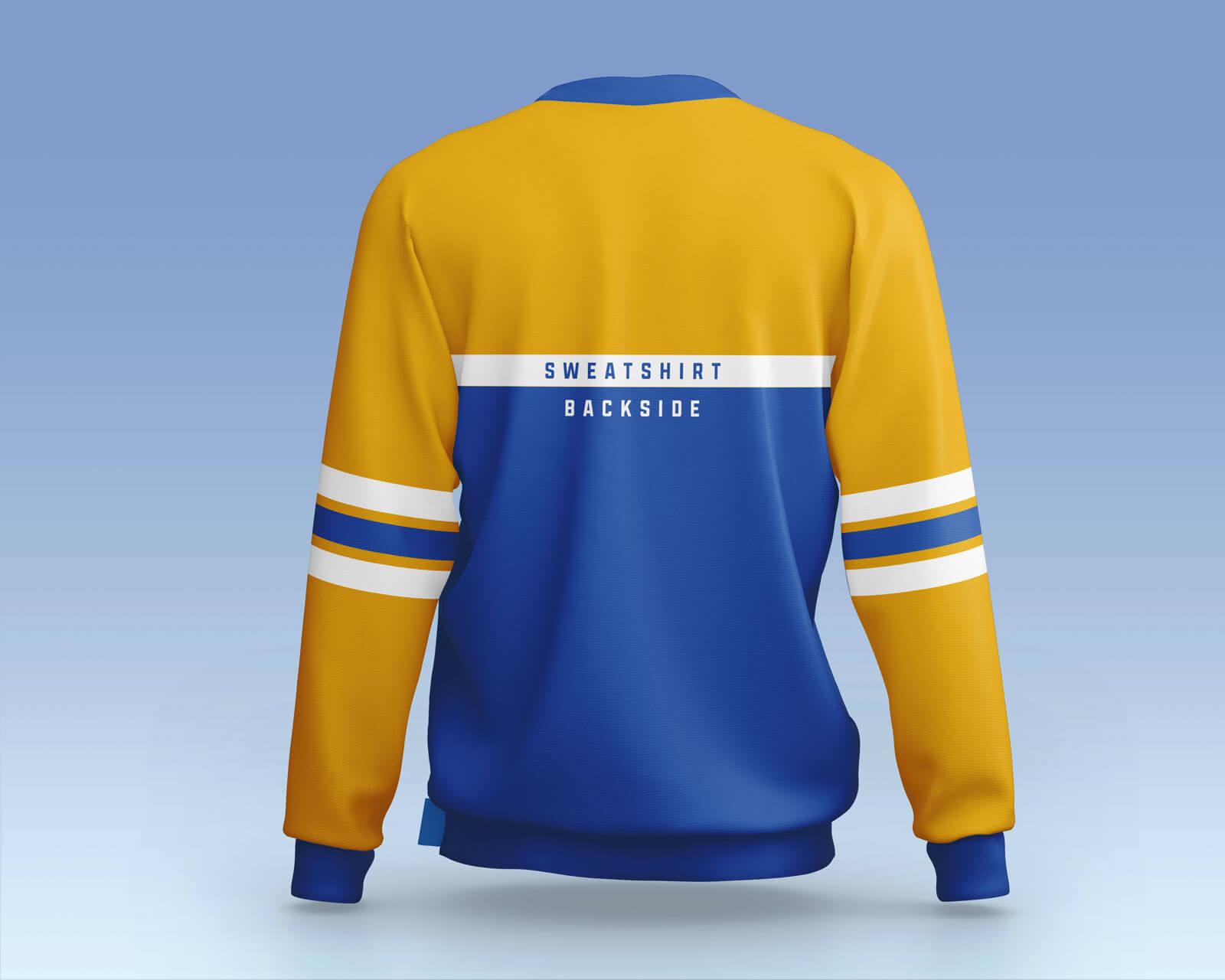 Free Sporty Crew Neck Full Sleeves Sweatshirt Mockup PSD Set (2)