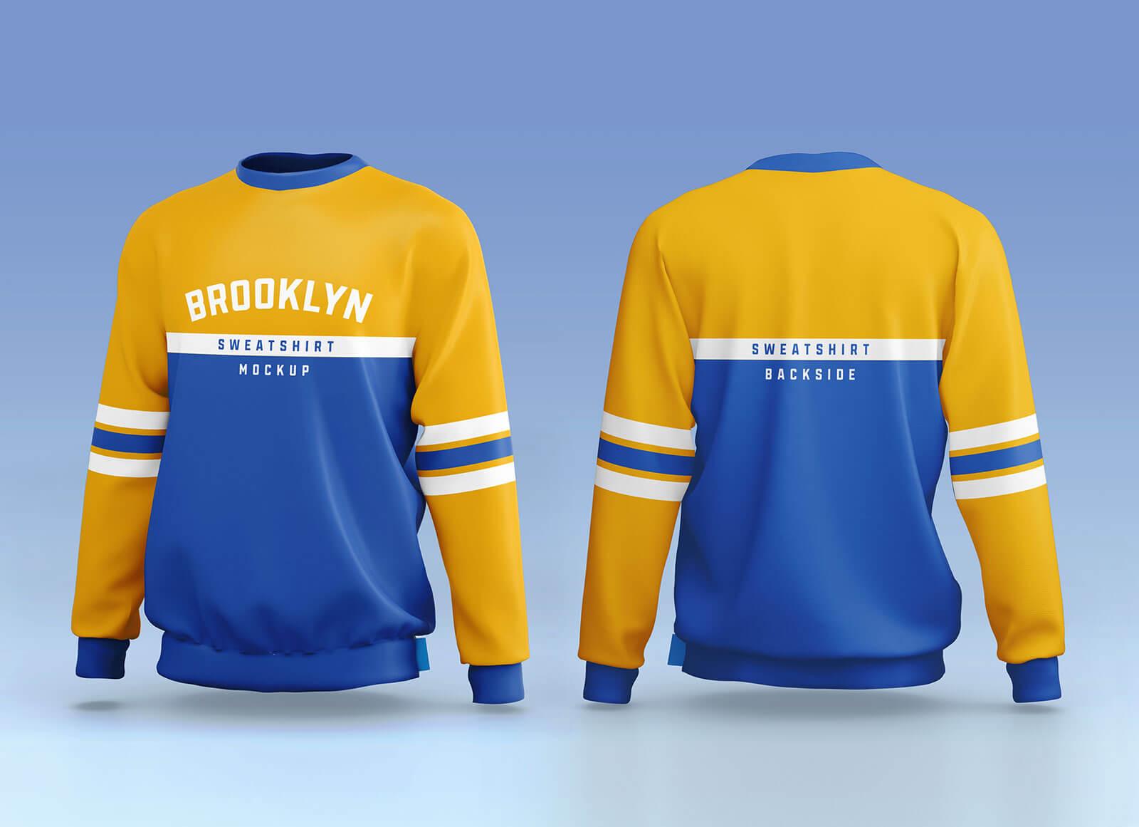 Free Sporty Crew Neck Full Sleeves Sweatshirt Mockup PSD Set (3)