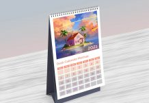 Free Table Desk Calendar 2021 Mockup PSD