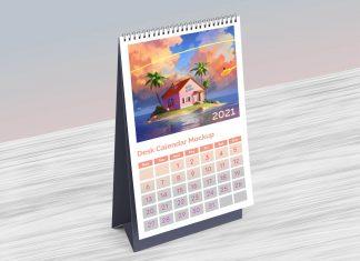 Free Table Desk Calendar 2021 Mockup PSD
