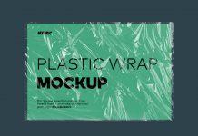 Free Transparent Cellophane Wrap Landscape Poster Mockup PSD