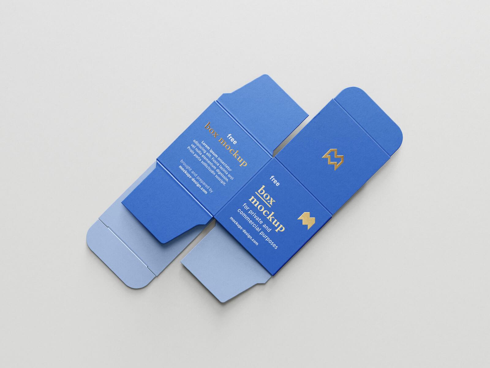 Free Unfolded Box Medicine Packaging Mockup PSD Set (1)