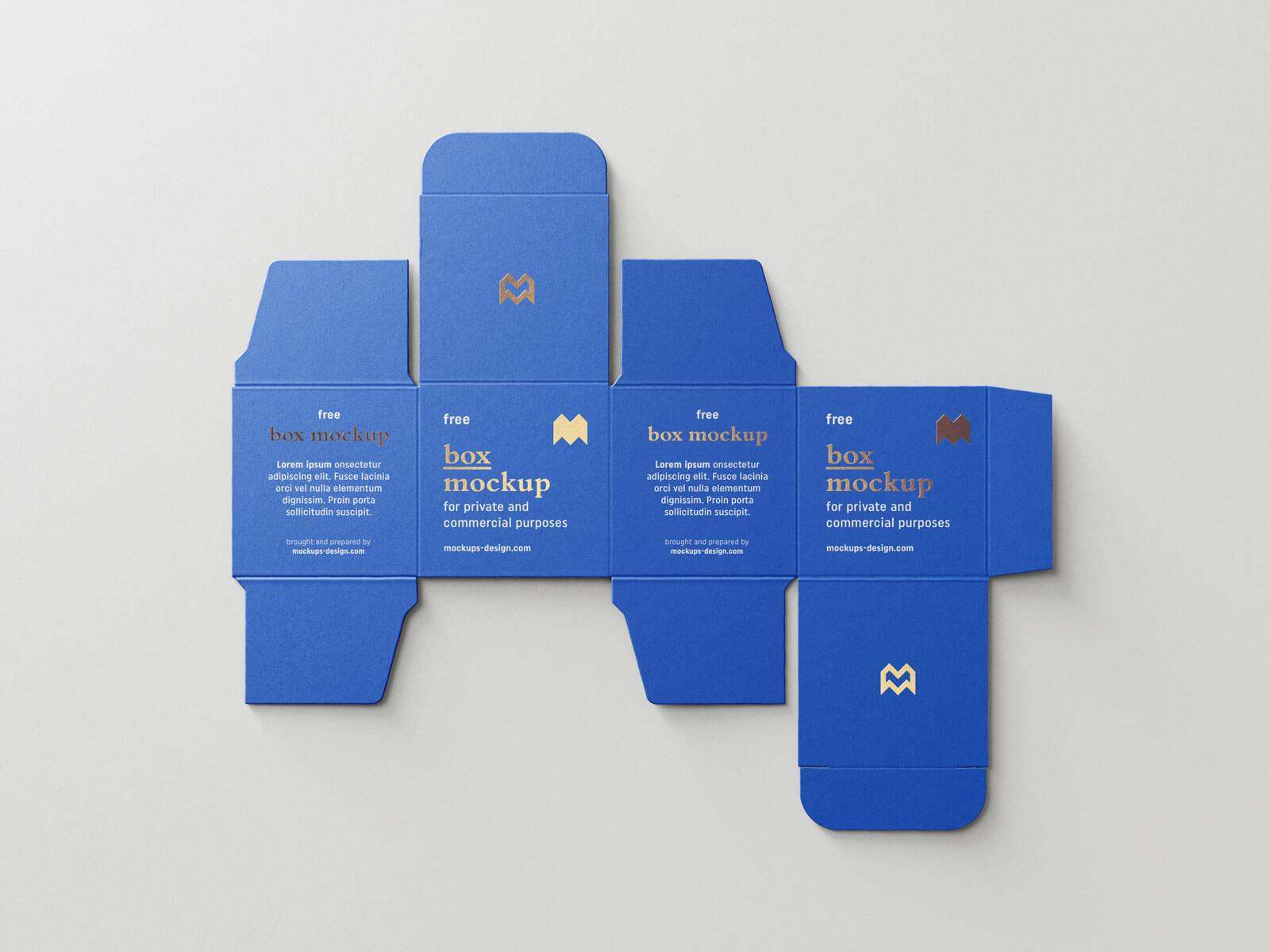 Free Unfolded Box Medicine Packaging Mockup PSD Set (2)