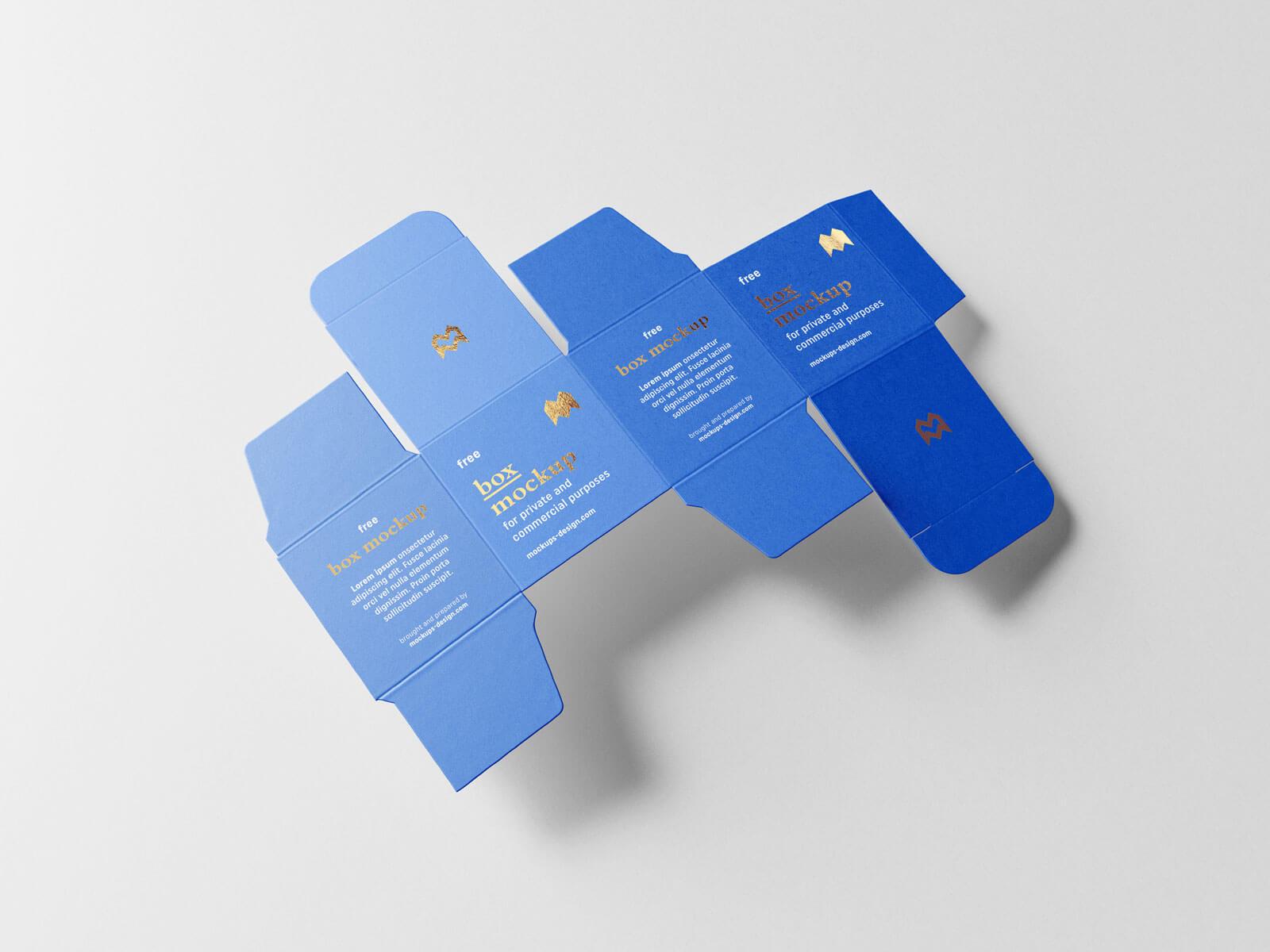Free Unfolded Box Medicine Packaging Mockup PSD Set (3)