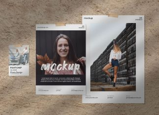 Free-A4-&-A5-Papers-Moodboard-Mockup-PSD-Scene