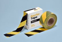 Free Barrier / Cordon Off Barricade Tape Packaging Box Mockup PSD