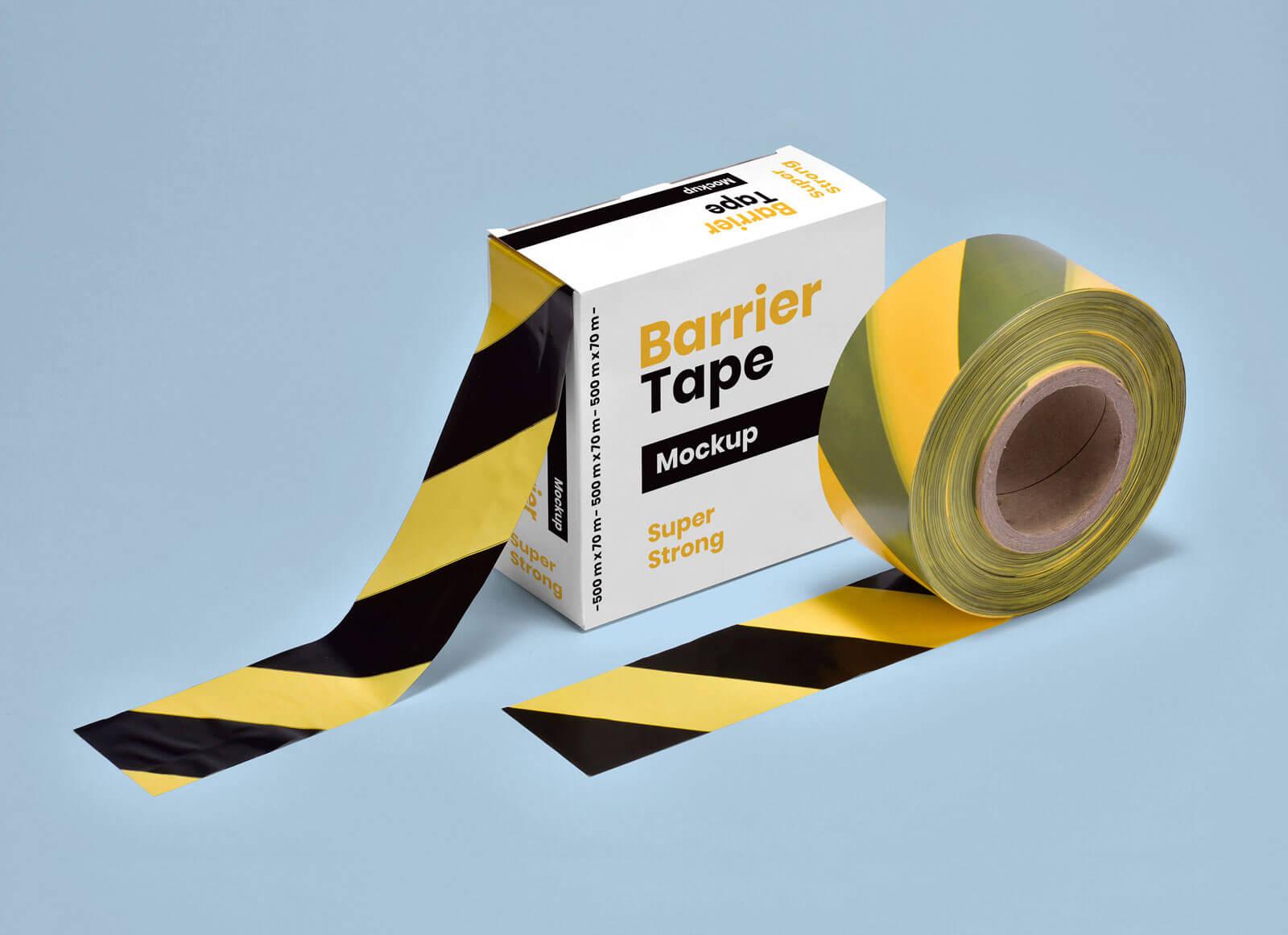Free Barrier / Cordon Off Barricade Tape Packaging Box Mockup PSD