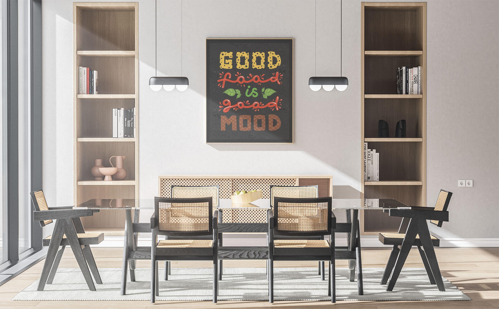 Free Dining Room Wall Canvas Poster Mockup PSD