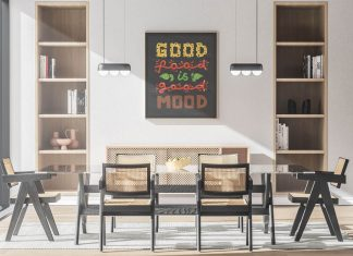 Free Dining Room Poster Frame Mockup PSD (2)