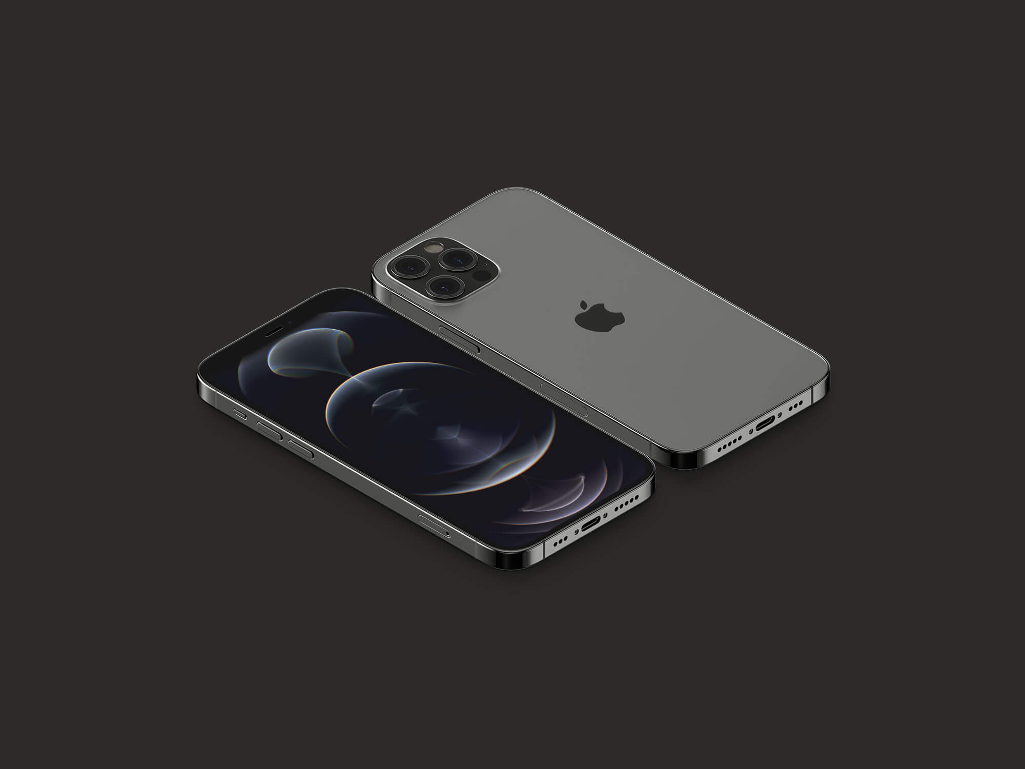 Free Front & Back 3D Rendered iPhone 12 Pro Mockup PSD